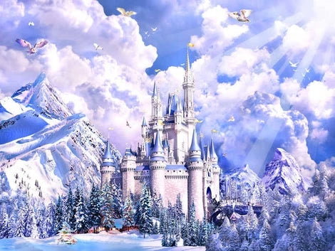 Landscape Snow Castle Diy Paint By Numbers Kits UK BU0099