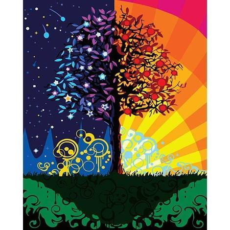 Colorful Tree Diy Paint By Numbers Kits UK FK394