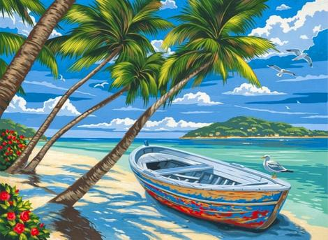 Boat Landscape Diy Paint By Numbers Kits UK PP0009