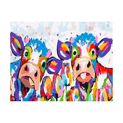 Colorful Cow Diy Paint By Numbers Kits UK AN0493