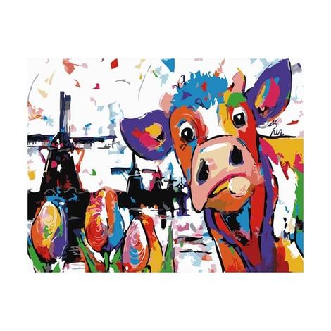 Colorful Cow Diy Paint By Numbers Kits UK AN0501