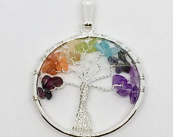 Chakra Tree of Life Wire Wrapped Pendant Crystal Gemstone Jewelry