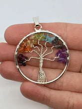Load image into Gallery viewer, Chakra Tree of Life Wire Wrapped Pendant Crystal Gemstone Jewelry