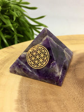 Load image into Gallery viewer, Crystal Pyramid Flower of Life Tigers Eye Rose Quartz Sodalite Amethyst Moonstone Tourmaline Aventurine Angelite Lepidolite Gemstone Chakra