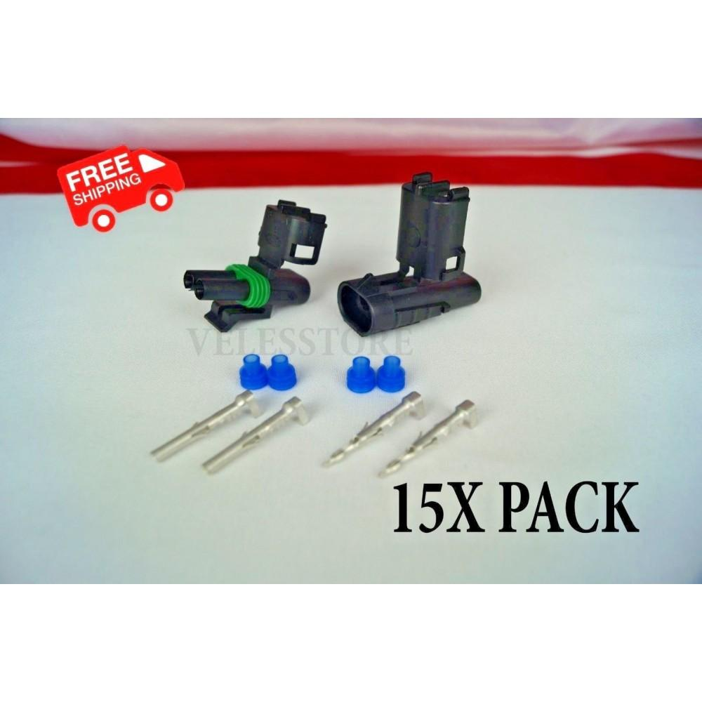 Delphi Weather Pack 2 Pin Sealed Connector Kit 16-14 GA 15 COMPLETE KITS
