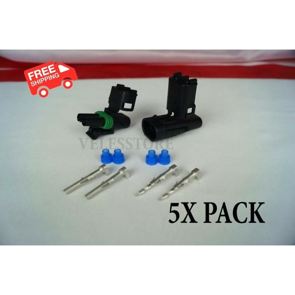 Delphi Weather Pack 2 Pin Sealed Connector Kit 16-14 GA 5 COMPLETE KITS