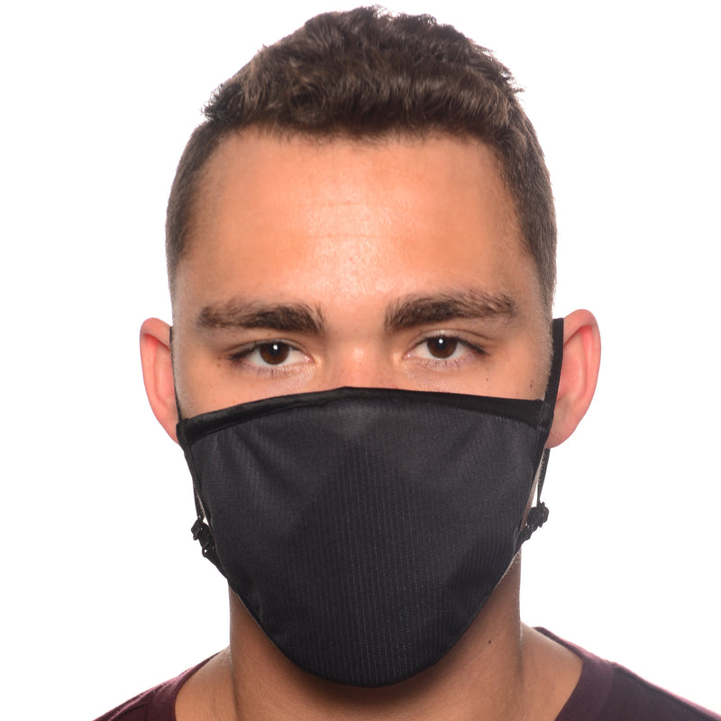 Black Fitted Antimicrobial Face Mask with MERV 16-rated Filter
