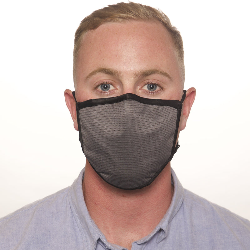 Triple-Layer Fitted Grey Antimicrobial Face Mask with MERV 16-rated Filter
