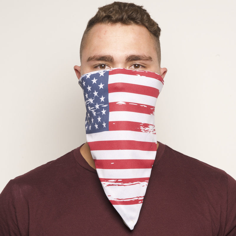 United States of America Flag Printed Antimicrobial Elastic-back Bandana