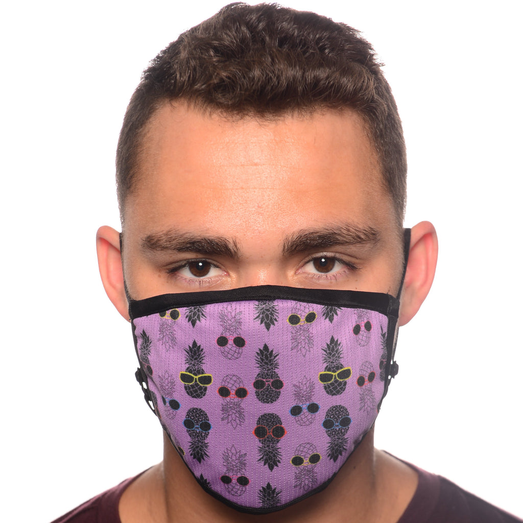 Pineapple Print Fitted Face Mask with Built-in MERV 16-rated Filter
