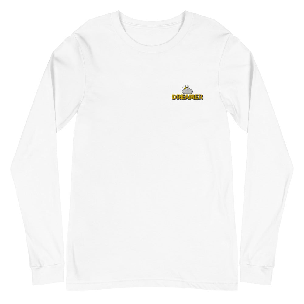 White Dreamer Logo Long Sleeve T-Shirt flat mockup