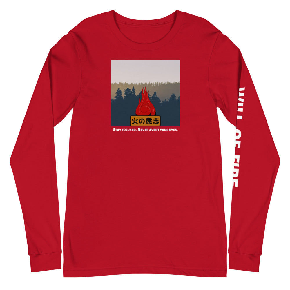 Red Will of Fire Long Sleeve Naruto T-Shirt