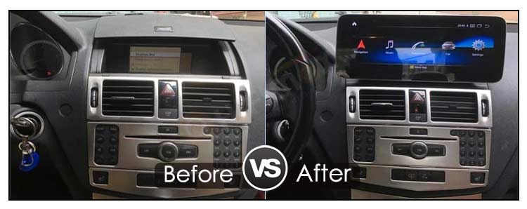 Mercedes Benz C W204 S204 android screen before VS after installation
