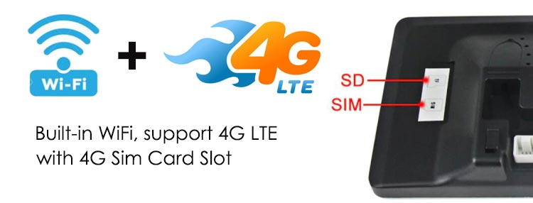 android screen built-in wifi adapter, support 4G LTE, contains 4G Sim card slot
