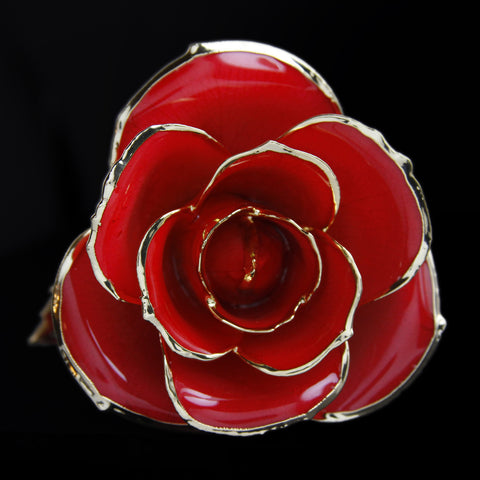 Genuine Red Rose Preserved Lacquer Dipped 24K Gold Long Stemmed in Gift Box