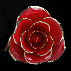 Genuine Red Rose Preserved Lacquer Dipped 24K Gold Long Stemmed in Gift Box - The Castle Jewelry  - 1