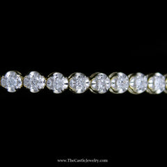 Beautiful Round Brilliant Cut 1cttw Tennis Bracelet in 10K Yellow Gold - The Castle Jewelry  - 2