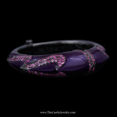 Matthew Campbell Laurenza Bangle Bracelet w/ Purple Enamel & Pink Colored Gemstones Sterling Silver