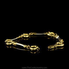 Two-Toned Bar and Heart Link Bracelet 7 Inches Long in 10K Yellow Gold - The Castle Jewelry  - 2