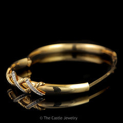 Polished Bangle with Diamond and Rope Triple X Design in 14K Yellow Gold - The Castle Jewelry  - 2