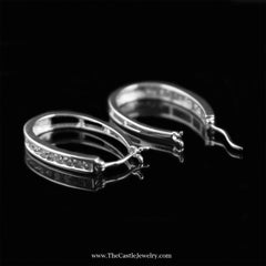 SPECIAL! Channel Set 1cttw Round Diamond Oval Hoops in 10K White Gold - The Castle Jewelry  - 2