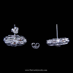 Unique Oval Citrine Flower Design Earrings w/ Diamond Bezel in White Gold - The Castle Jewelry  - 2