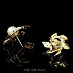 Pearl & .30cttw Diamond Leaf Designed Earrings in 14K Yellow Gold - The Castle Jewelry  - 2