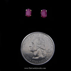 Beautiful Oval Ruby Stud Earrings in Yellow Gold - The Castle Jewelry  - 2