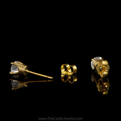 Stunning Round Brilliant Cut Diamond Stud Earrings in 14K Yellow Gold - The Castle Jewelry  - 2