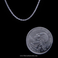 Rope Chain Necklace in 14K White Gold 1.2mm 20 Inches 3.2 Grams - The Castle Jewelry  - 2