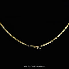 Rope Chain 19 Inches 2mm 8.8 Grams in 18K Yellow Gold - The Castle Jewelry  - 2