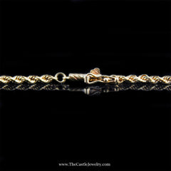 Rope Chain 18 Inches 2mm 8.4 Grams in 14K Yellow Gold - The Castle Jewelry  - 2
