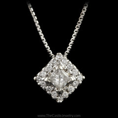 Off Set Square Shaped Diamond Cluster Pendant 16.5 Inch Chain in 18K White Gold - The Castle Jewelry  - 2