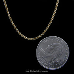 Rope Chain Necklace in 10K Yellow Gold 1.5mm 22 Inches 4.4 Grams - The Castle Jewelry  - 2