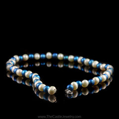 Collegiate University of Kentucky Blue and White Pearl Necklace - The Castle Jewelry  - 2