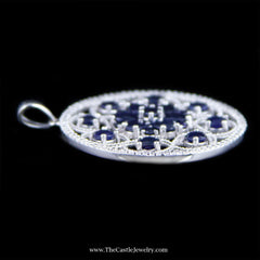 Sapphire and Diamond Large Disc Pendant Open Swirl Design in 14K White Gold - The Castle Jewelry  - 2