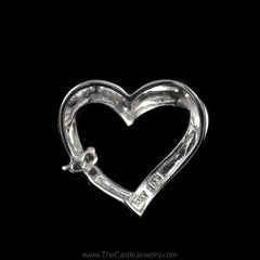Heart Pendant with Round Diamond Cluster Accents on Side in 14K White Gold - The Castle Jewelry  - 2