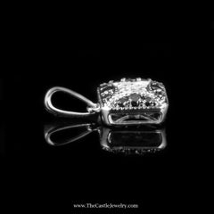 Square Shaped White and Black 1/4cttw Diamond Pendant in 10K White Gold - The Castle Jewelry  - 2