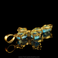 Pear Shaped Blue Topaz Cross Pendant in 14K Yellow Gold - The Castle Jewelry  - 2