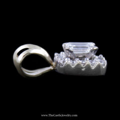 Gorgeous Emerald Cut Diamond Pendant w/ Round Brilliant cut Diamond Bezel in White Gold - The Castle Jewelry  - 2