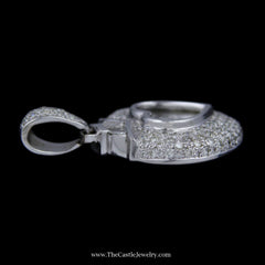 Large 5cttw Pave Diamond Heart Pendant w/ 11 Floating Diamonds in Center 18K White Gold