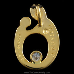 Mother Child Silhouette Pendant with 1/4ct Round Diamond in 14K Yellow Gold - The Castle Jewelry  - 2