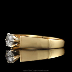 Round Brilliant Cut Diamond Solitaire Engagement Ring in Cathedral Mounting in 14K Yellow Gold - The Castle Jewelry  - 2