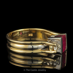 Emerald Cut 3 Stone Ruby Ring with Two Diamond Accents .33cttw Set in 14k Yellow Gold - The Castle Jewelry  - 2