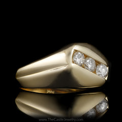 Gent's Diagonal Channel Set Round Brilliant Cut 1cttw Diamond Ring in 14K Gold - The Castle Jewelry  - 2