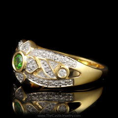 Bezel Set Round Tsavorite Garnet Ring with Fancy Design Diamond Mounting in 18K Yellow Gold - The Castle Jewelry  - 2