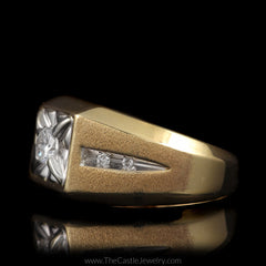 Mens Square Illusion Diamond Ring 1/3 Round Center with Brushed Design Sides in 10K Yellow Gold - The Castle Jewelry  - 2