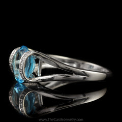 Oval Blue Topaz Ring with Split Shank Curved Cathedral Mounting in 14K White Gold - The Castle Jewelry  - 2