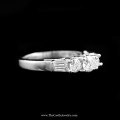 Stunning 1cttw DeBeers Style Diamond Ring w/ Baguette Sides in White Gold - The Castle Jewelry  - 2