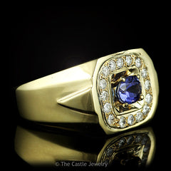 Men's Oval Cut Tanzanite and Diamond Ring .64cttw in 14k Yellow Gold - The Castle Jewelry  - 2
